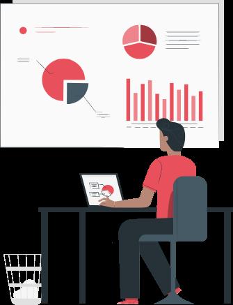 illustration man looking at chart